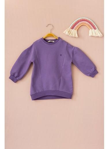 Cigit Yıldız Nakışlı Parçalı Sweatshirt Mor